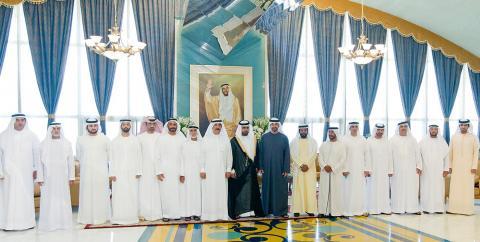 حاكم ام القيوين ومحمد بن زايد يحضران أفراح الكتبي