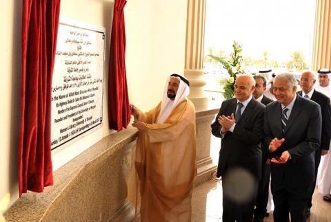 سلطان القاسمي يفتتح مكتبة الطالبات الجديدة بجامعة الشارقة