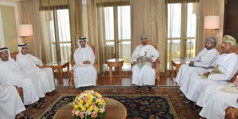 منصور بن زايد يلتقي وزير ديوان البلاط العماني