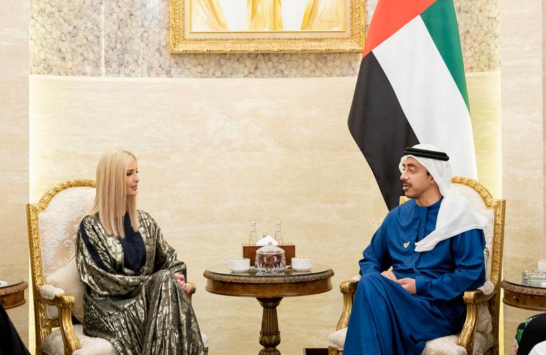 عبدالله بن زايد يستقبل إيفانكا ترامب في أبوظبي