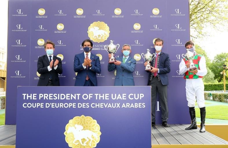 الجواد «هتال» بطلا لكأس صاحب السمو رئيس الدولة للخيول العربية في فرنسا