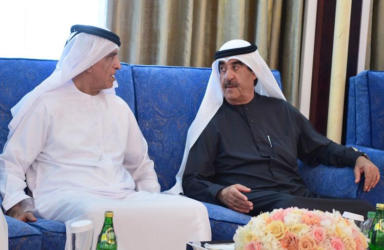 حاكم أم القيوين يتقبل التعازي من حاكم رأس الخيمة بوفاة الشيخ محمد بن حميد بن عبدالرحمن الشامسي