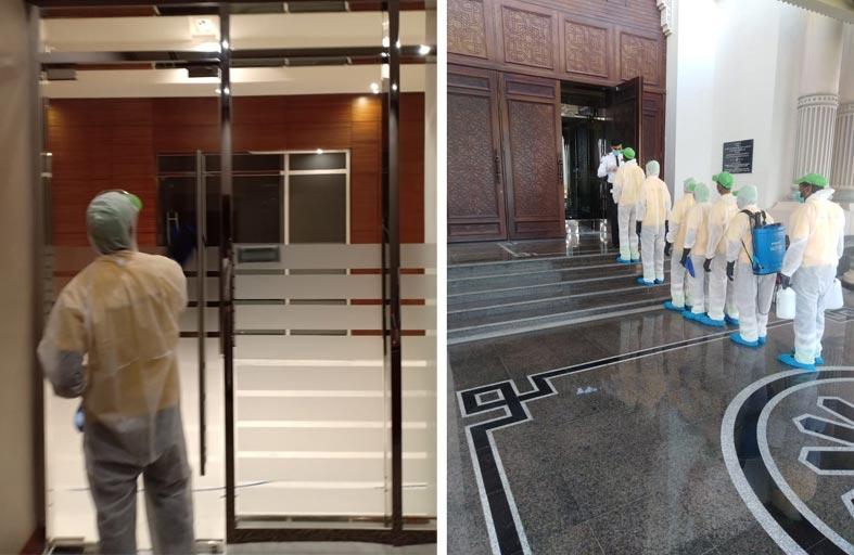 غرفة الشارقة تُنفذ عمليات تعقيم وتطهير للمبنى الرئيسي