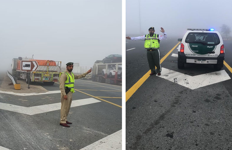 شرطة دبي تدعو إلى توخي الحيطة والحذر أثناء القيادة في الضباب