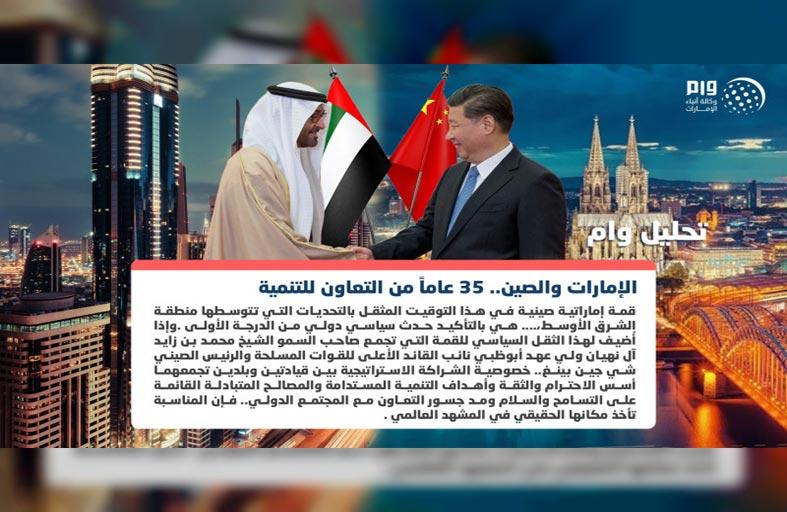 الإمارات والصين.. 35 عاما من التعاون للتنمية والاستقرار
