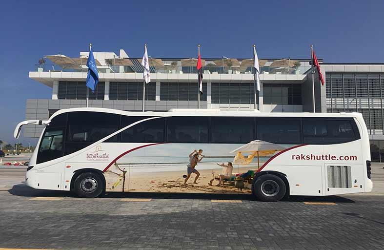 حافلات مجهزة بالإنترنت لنقل السياح من مطار دبي الى رأس الخيمة