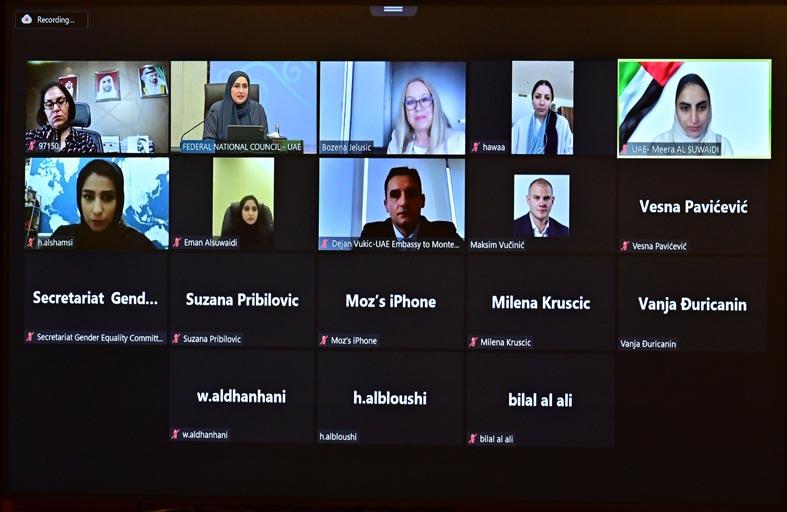 عضوات المجلس الوطني الاتحادي يشاركن في ورشة حول تمكين المرأة عقدت بالتعاون مع برلمان جمهورية مونتينيغرو
