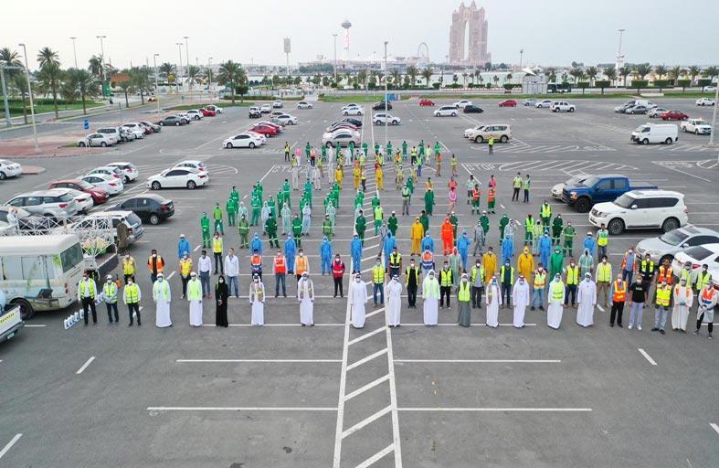 بلدية مدينة أبوظبي و(تدوير) ينفذان حملة شاملة لتعقيم أبوظبي وضواحيها