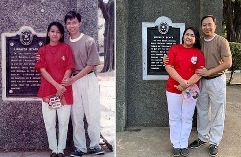 يساعد والديه على إعادة صورة التقطت قبل 28 عاماً