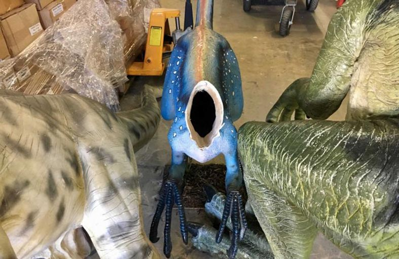 يقطعون روؤس ديناصورات بمتحف