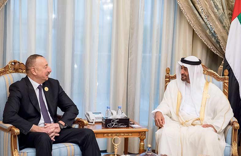 محمد بن زايد يستقبل الرئيس الاذربيجاني