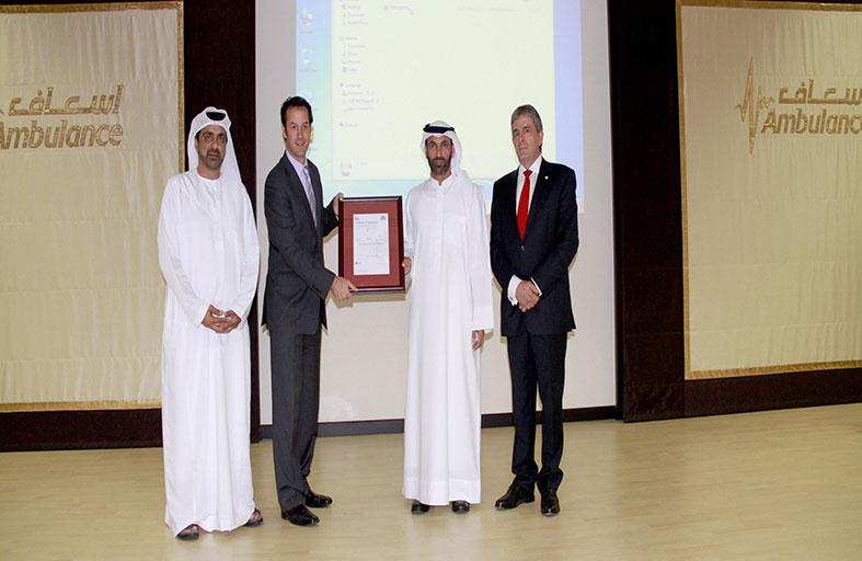 إسعاف دبي تحصل على شهادة الآيزو للصحة والسلامة والسلامة المهنية والبيئية