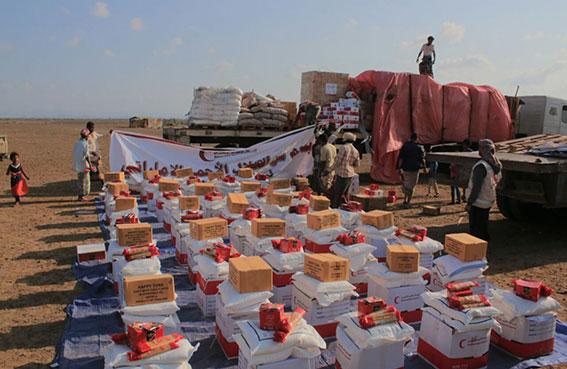 الهلال الأحمر الإماراتي يوزع مساعدات غذائية على سكان باب المندب