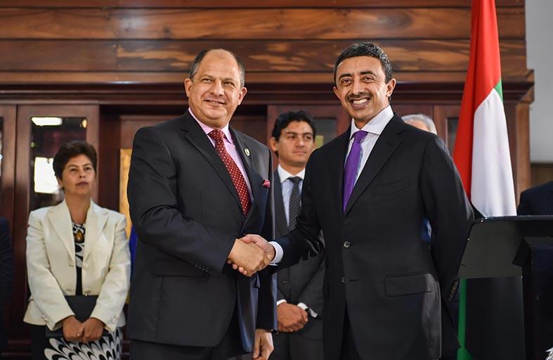 رئيس كوستاريكا يستقبل عبدالله بن زايد