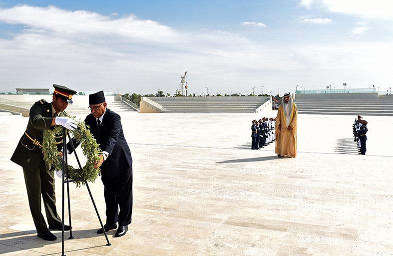 رئيس مونتينيغرو ورئيس وزراء نيبال يزوران واحة الكرامة