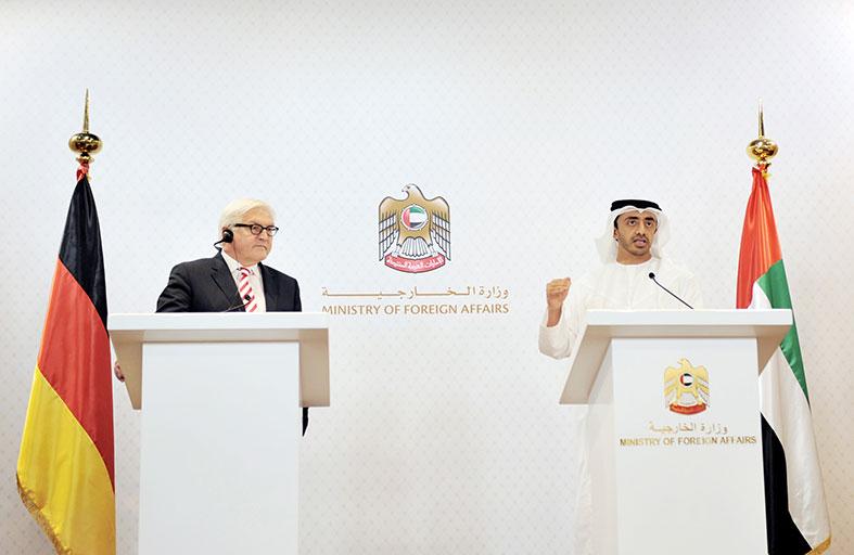 عبدالله بن زايد وشتاينماير يتفقان على تشكيل فريق ثنائي بين البلدين لبحث القضايا والمستجدات في المنطقة
