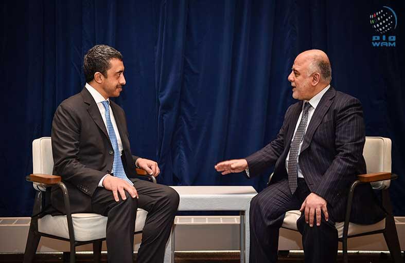 عبدالله بن زايد يلتقي رئيس وزراء العراق