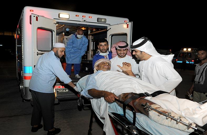 وصول دفعة جديدة من الجرحى والعائلات اليمنية المتضررة لتلقي العلاج في مستشفيات الدولة