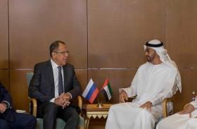 محمد بن زايد يبحث مع لافروف العلاقات الثنائية وعددا من القضايا الإقليمية والدولية