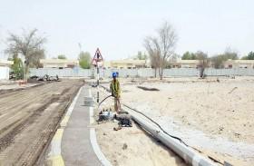 بلدية منطقة الظفرة ومساندة تنفذان مشروعاً لإعادة تأهيل البنية التحتية لحوض غرب 3 بـمدينة زايد