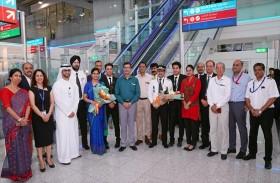 مطارات دبي ترحب بالرحلة الافتتاحية لخطوط أير إنديا