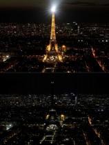 صورتان لبرج إيفل ، الصورة الأعلى وهو مُضاء، في باريس ، والصورة السفلى وهو غير مضاء خلال ساعة الأرض لتسليط الضوء على تغير المناخ العالمي.ا ف ب