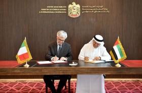 الإمارات وإيطاليا تتبادلان وثائق التصديق على الاتفاقيات القضائية في المسائل الجنائية وتسليم المجرمين