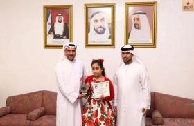 حمد الشرقي يستقبل الطفلة الفائزة بالمسابقة العالمية للحساب الذهني الياباني