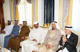 أحمد خليفة السويدي والشيوخ يعزون في وفاة سلطان سالمين بن حرمل الظاهري