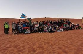 الوفود الكشفية العالمية في مغامرة بآثار منطقة مليحة يمارسون عدداً من الألعاب الرياضية
