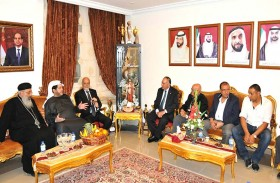 سعيد بن طحنون يعزي راعي الكنيسة الأرثوذكسية بالعين في ضحايا التفجيرين الإرهابيين في مصر