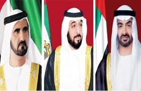 رئيس الدولة ونائبه ومحمد بن زايد يهنئون رئيس اذربيجان باليوم الوطني لبلاده