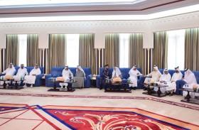 حاكم أم القيوين يستقبل المعزين في وفاة الشيخ محمد بن حميد عبد الرحمن الشامسي