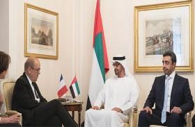 محمد بن زايد يبحث مع وزير الخارجية الفرنسي التطورات والمستجدات في المنطقة ومجمل القضايا الإقليمية والدولية