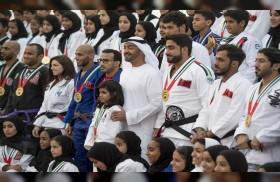 محمد بن زايد يستقبل أبطال أبوظبي العالمية للجوجيتسو
