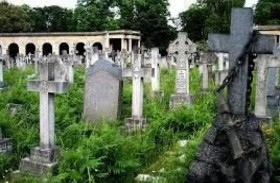 شبح يتجول في مقبرة