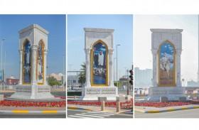 بلدية مدينة أبوظبي تعيد تأهيل صورة المغفور له الشيخ زايد عند تقاطع الكاسر بأبوظبي