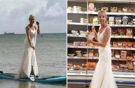 ترتدي فستان زفافها وهي تؤدي مهامها اليومية