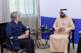 محمد بن راشد يستقبل رئيسة الوزراء البريطانية السابقة