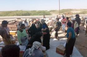 قافلة مساعدات من الهلال لإغاثة 1500 أسرة نازحة في ابين